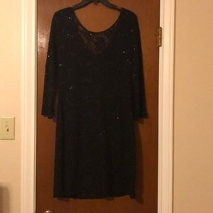 Black lace dress with sequins